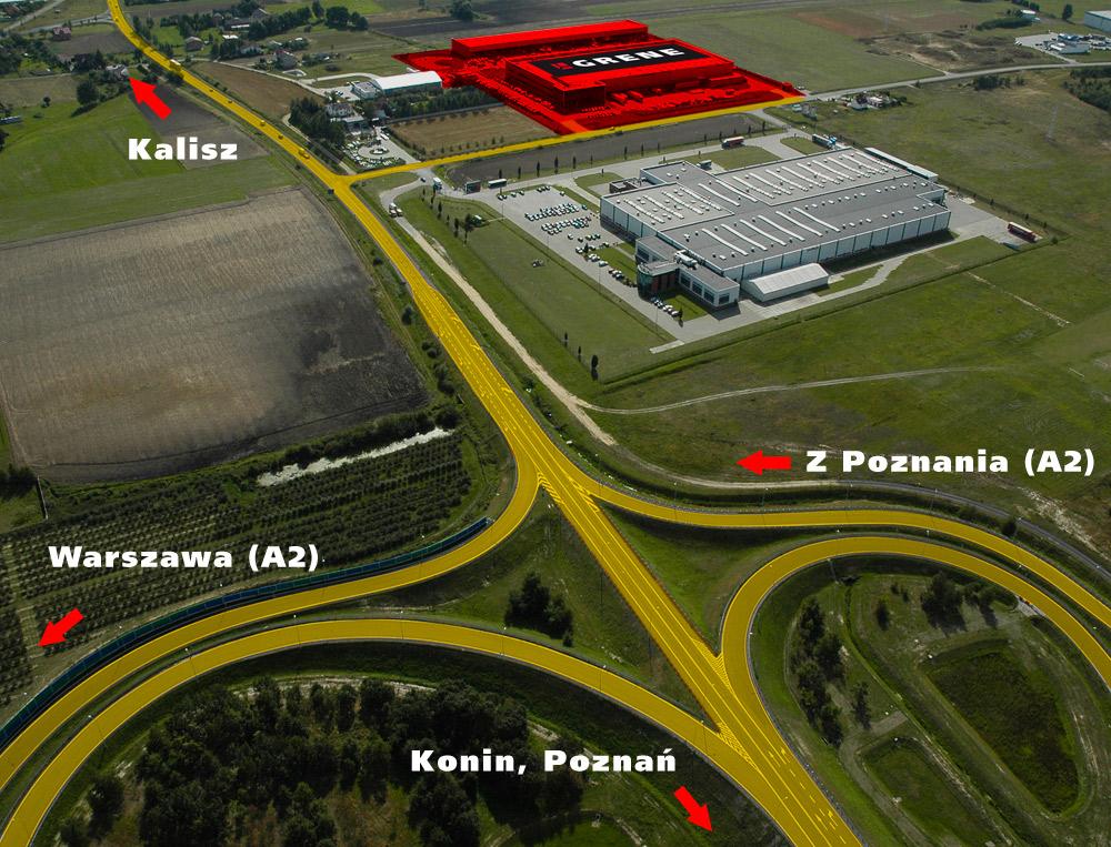 Dojazd do GRENE z lotu ptaka - węzeł autostrady A2 - Modła Królewska